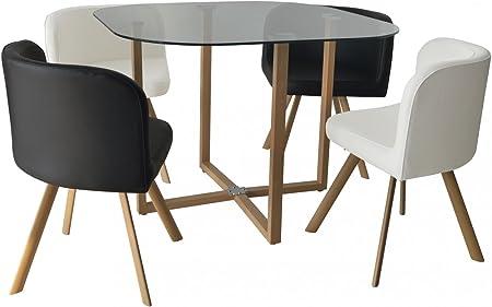 Conjunto mesa y 4 sillas encastrable blanco y negro: Amazon.es: Hogar