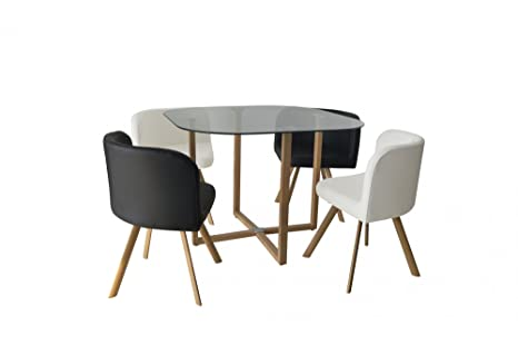 Conjunto mesa y 4 sillas encastrable blanco y negro: Amazon ...
