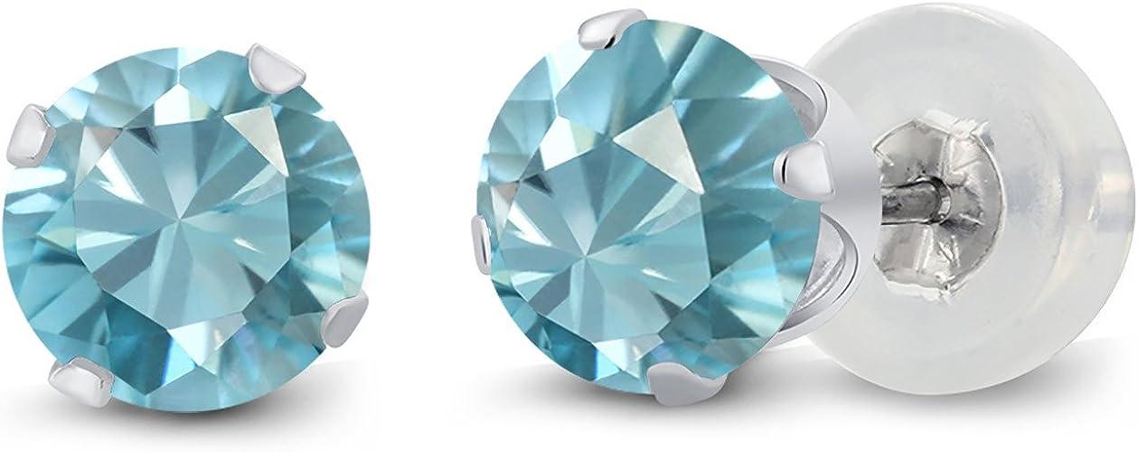 925 Sterling Silver Stud Earrings Round CZ Birthstones December Blue Zircon 5mm