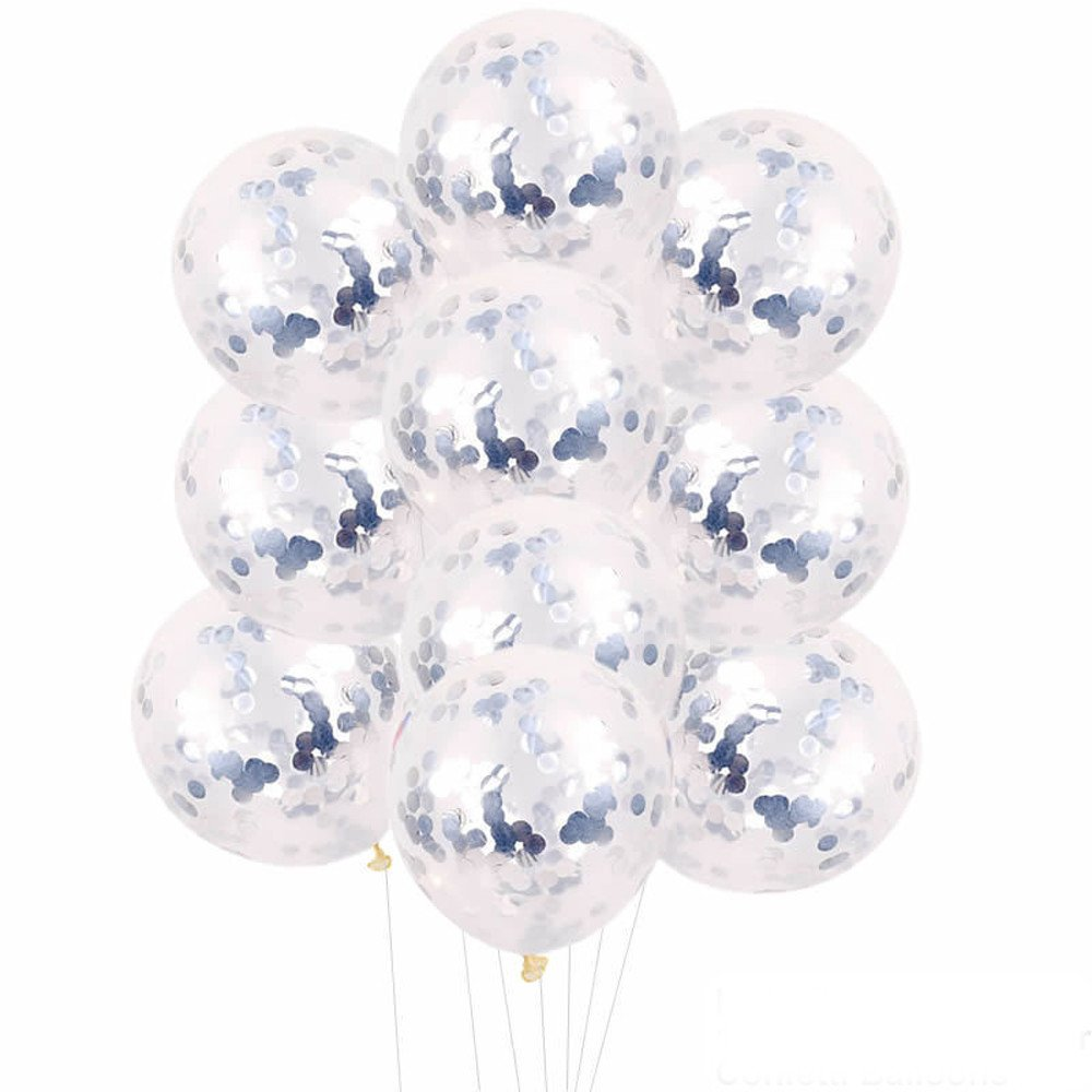 JPJ(TM) Confetti Ballon❤️10pcs Hot Fashion 12 inch Foil Latex Confetti Balloon Set Wedding Birthday Baby Shower (Silver)