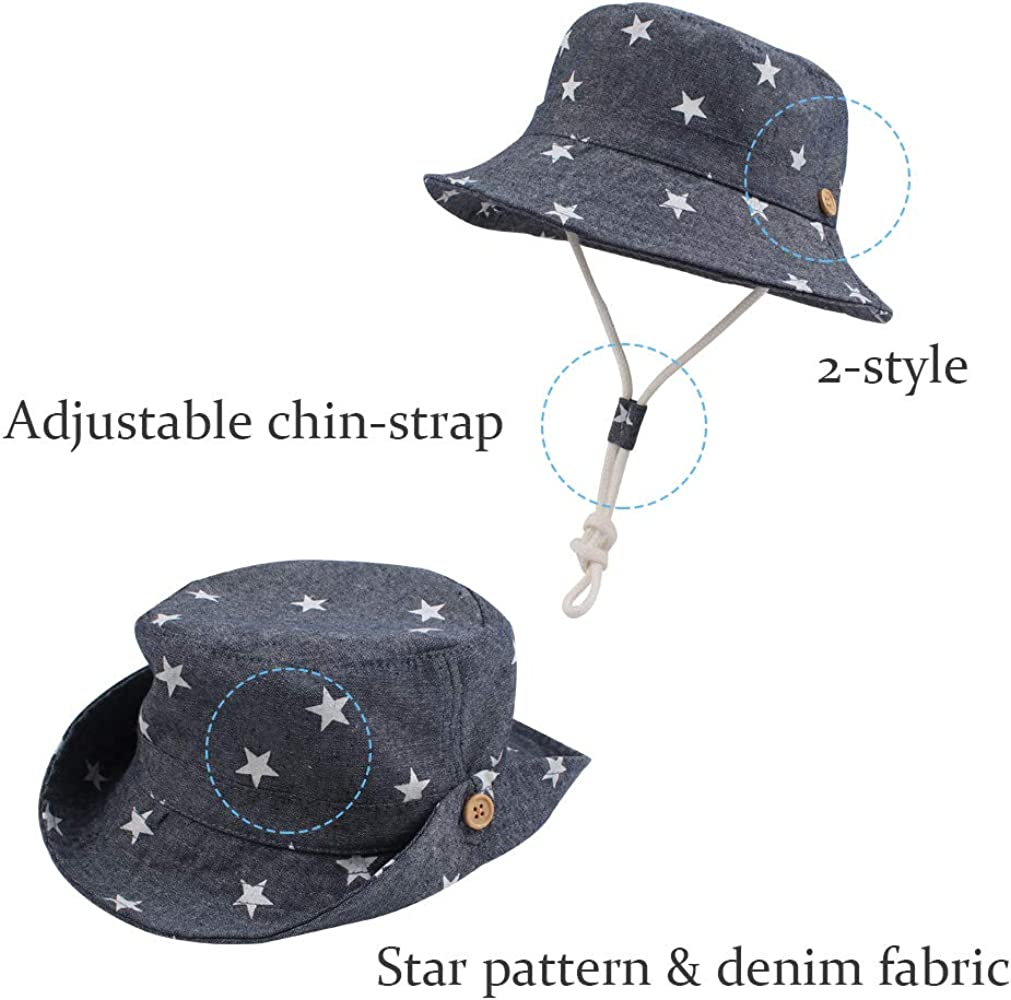 Sun Protection Animal Bucket with Chin Strap Adjustable Baby Toddler Kids Boys Girls Breathable Sun Hat UPF50