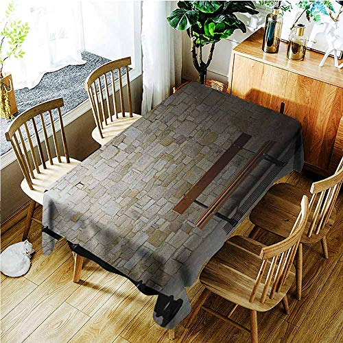 TT.HOME Elastic Tablecloth Rectangular,Street Modern Avenue at Dark Night with a Open Lamp and Bench and Stone Wall Behind Image,Fashions -