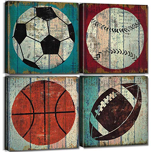 Sports Decor for Boys Room Sports Wall Art Decor Soccer Ball Basketball Home Decoration Canvas Prints Football Tennis Ball Baseball Posters Pictures Modern Artwork Stretch Framed 12x12 Inch 4 Pcs