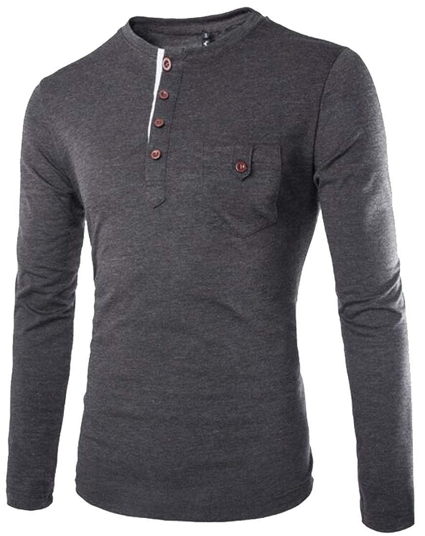 WSPLYSPJY Mens Basic DesignedCasual Slim Fit Henley Long Sleeve T-Shirt Top