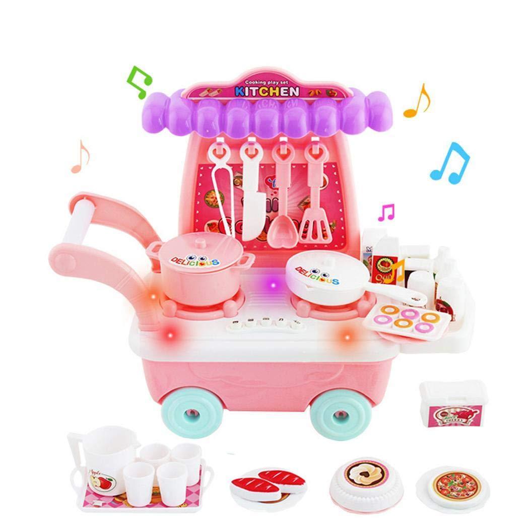 Kindsells Mini Simulation Dining Car Music Lighting Kitchen Children Role Play Toys Sets