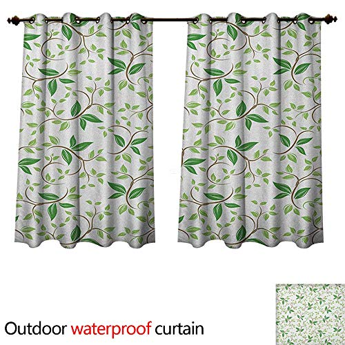 Anshesix Leaf Outdoor Curtain for Patio Ivy Patterns with Tiny Fancy Green Leaves Branches Creme Contemporary Illustration W63 x L63(160cm x 160cm) (Creme Paper)