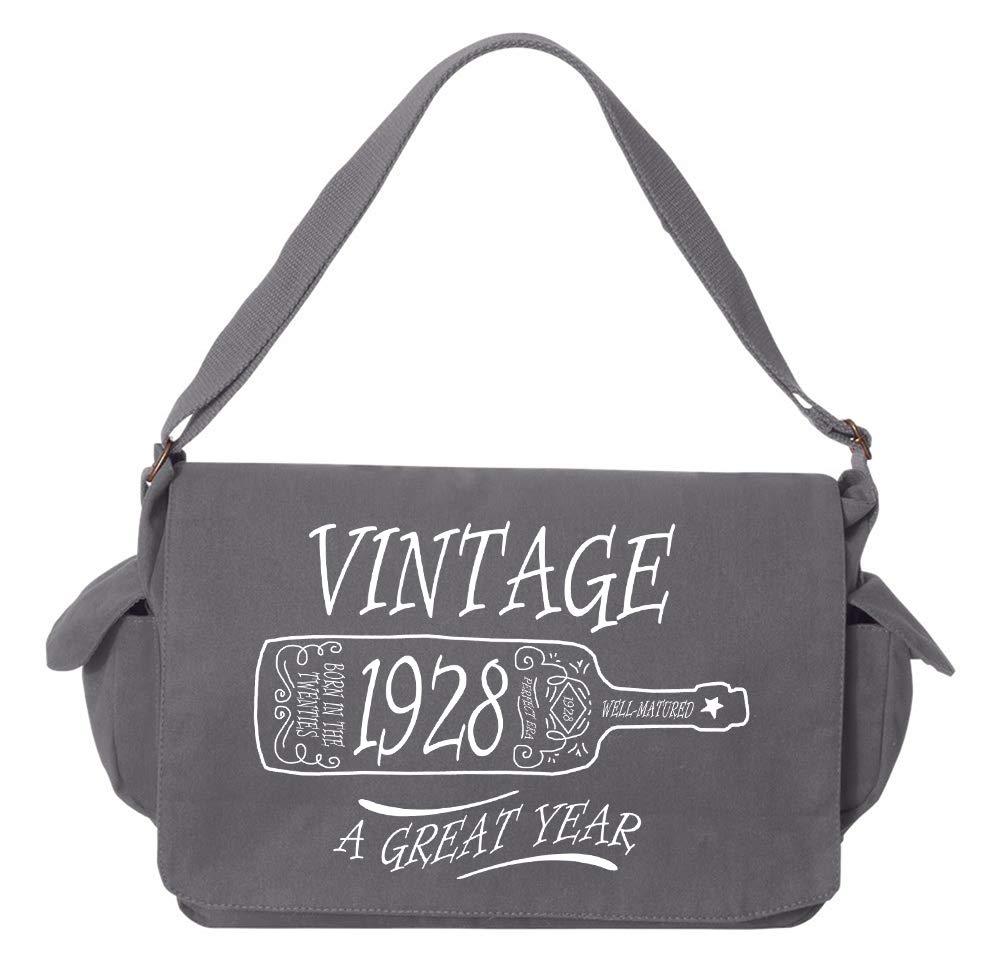 Tenacitee Aged Like a Fine Wine 1928 Flamingo Raw Edge Canvas Messenger Bag