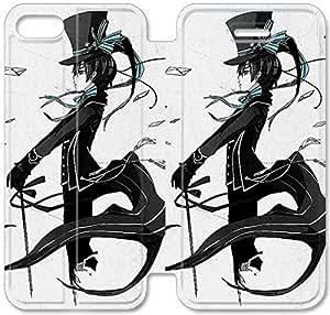 Gemma Ehritz® Only Authorized Official Brand Boutique Shop,Funda iPhone Leather Case 5C Funda , caja de cuero de la cubierta del estilo del tirón genuino con el soporte Característica Diseño I681TGX Negro mayordomo B600CRJ para las muchachas adolescentes y los hombres