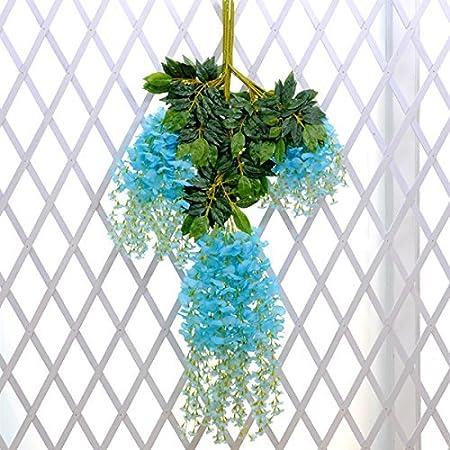 Coobl®3.6 Ft Realistic Romantic Classic Artificial Fake Wisteria Vine Ratta Silk Flowers for Garden Floral Decoration DIY Living Room Hanging Flower Plant Vine Party Wedding Decor 12 Pcs (Sky Blue)