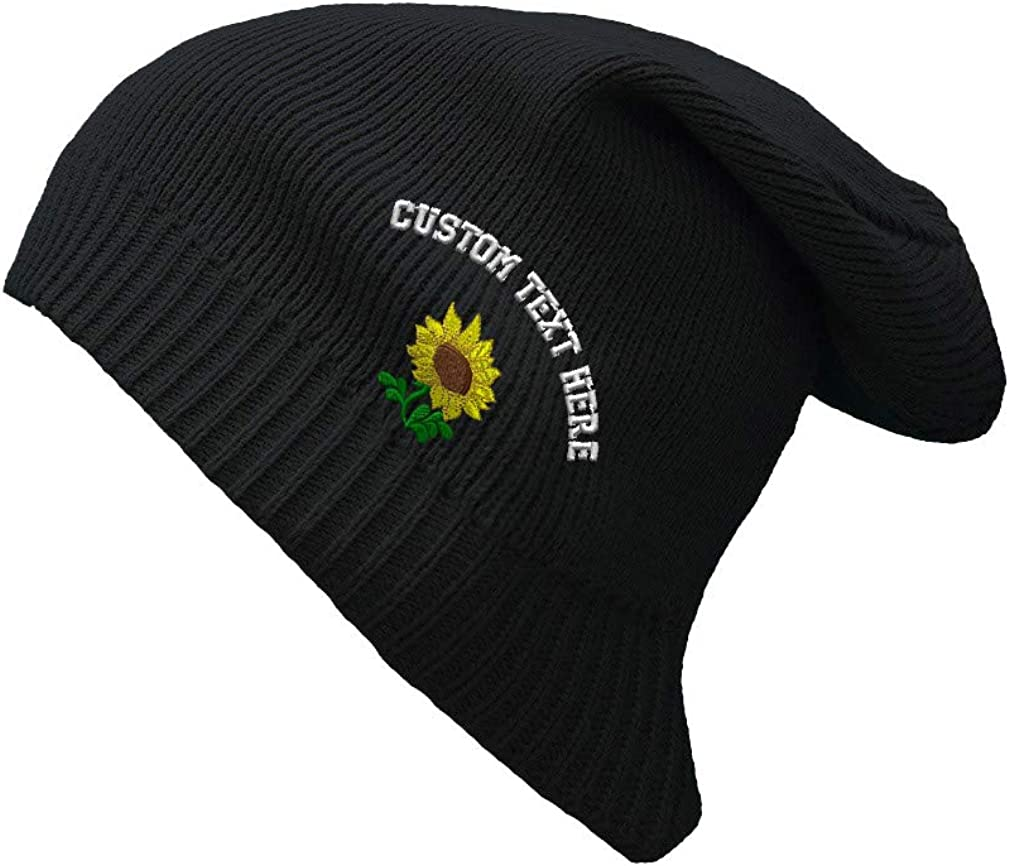 Custom Text Sewed Plants Fringe Sunflower Unisex Organic Cotton Slouch Beanie