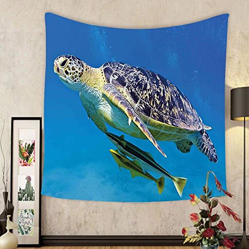 Cheap  Gzhihine Custom tapestry Turtle Tapestry Cute Angry Looking Sea Turtle Swimming with..