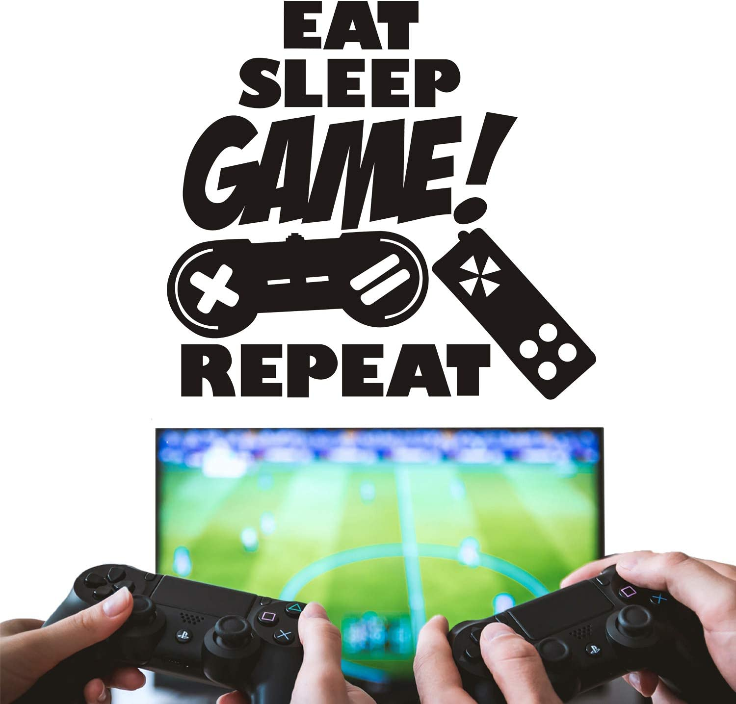 Wall Decals Stickers Gamers Never Sleep for Boys Bedoom Vinyl Sticker Peel and Stick Boys Room Wall Decor Gift for Gamer Gamer