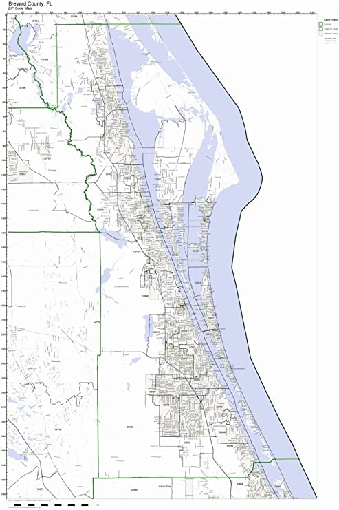 Amazon Com Brevard County Florida Fl Zip Code Map Not Laminated