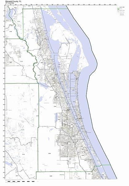 Brevard County Florida Map.Amazon Com Brevard County Florida Fl Zip Code Map Not Laminated