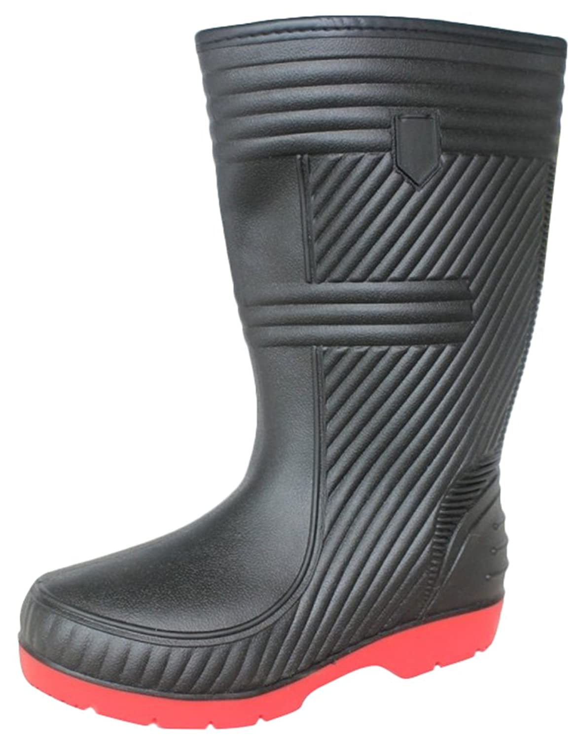 Ace Men's Waterproof Anti-skid Mid-calf Pull-on Work Boots Rain Boot