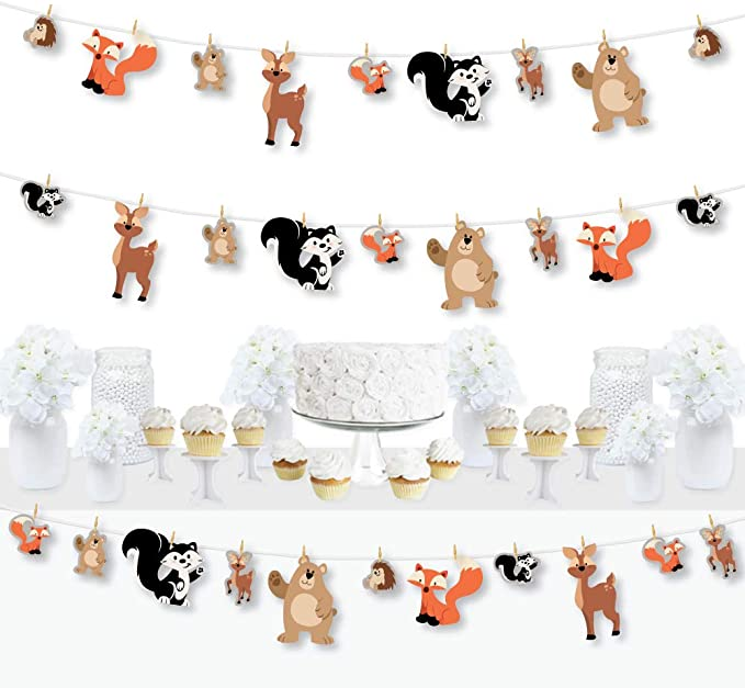 Forest Animals Banner Decoration Kit Woodland Baby Shower or Birthday Party Supplies Fundle Bundle Big Dot of Happiness Stay Wild