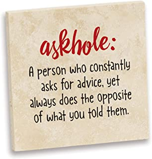 product image for Imagine Design Relatively Funny Askhole:, Travertine Coaster, One Size, Red/Black/White