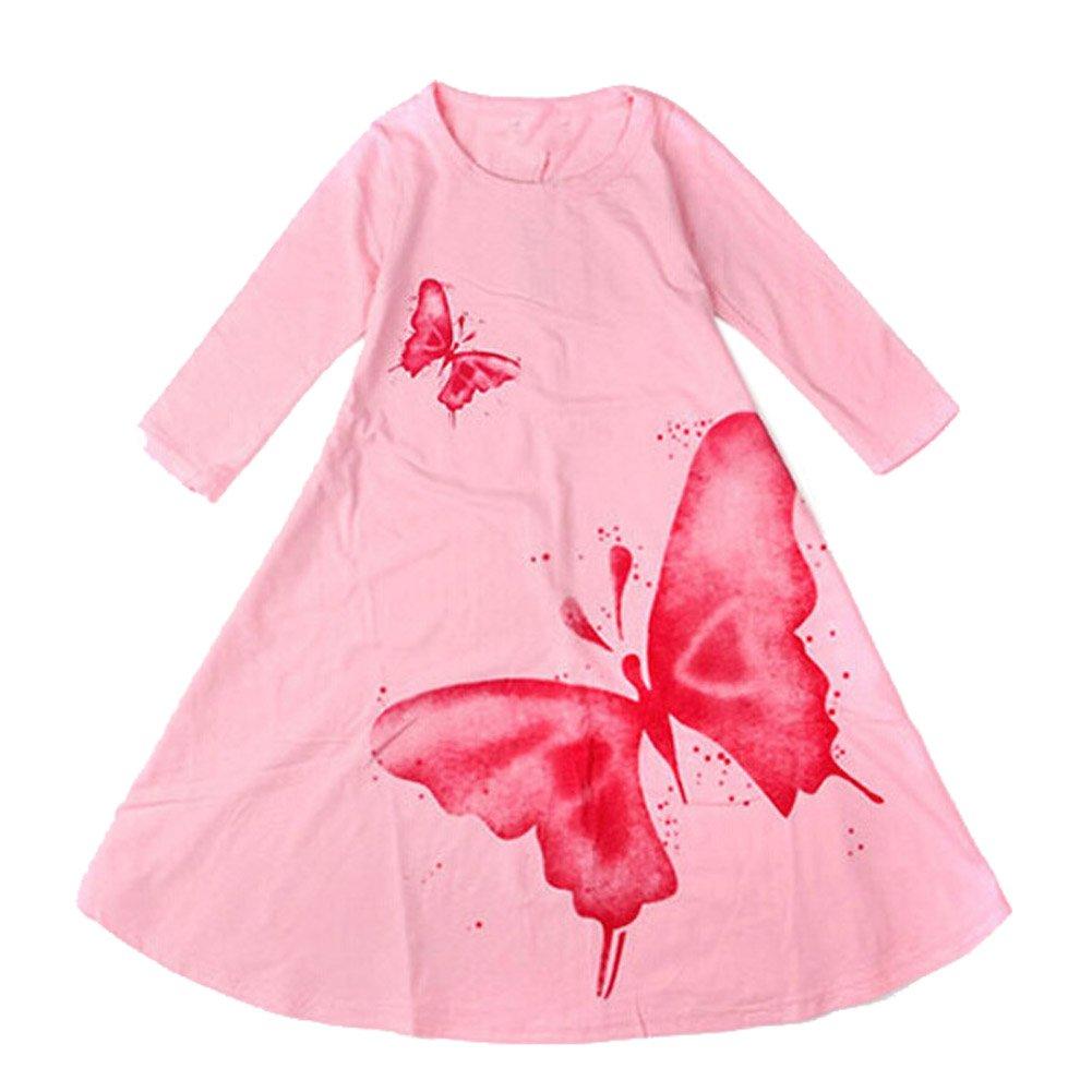 ZAMME Girls Cotton Long Sleeve Printing Skirt Dress 2-10T