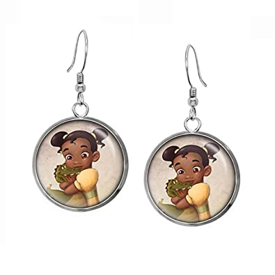 cf6e26369 Young Tiana Earrings, Disney Princess Tiana Pendant, Child Necklace,  Disney's Princesses Kids Jewelry