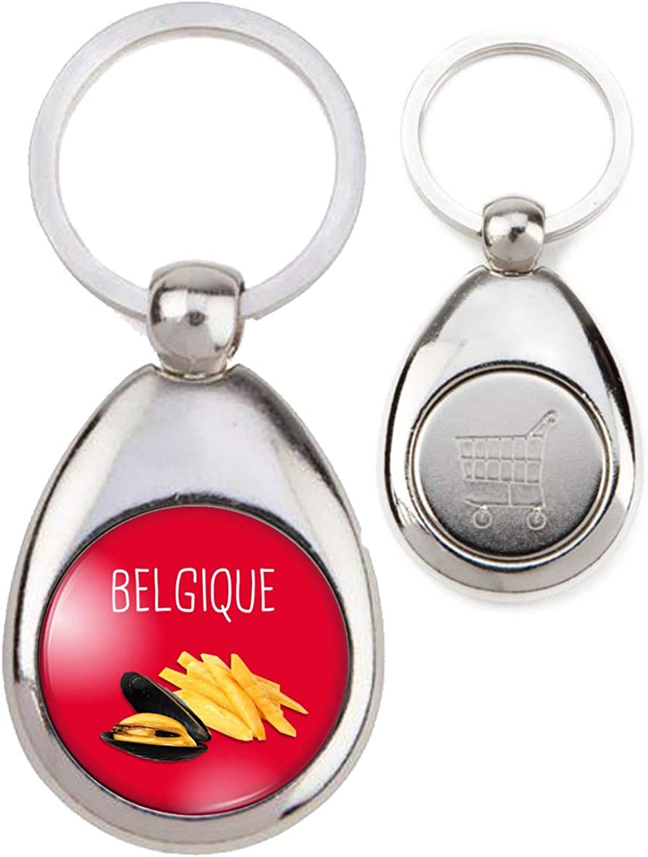 Porte-Cl/és M/étal Belgique Moules Frites Humour Symbole Pays