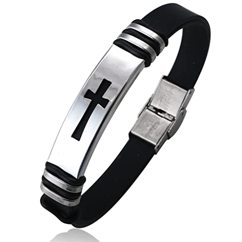 jstyle jewelry 2 pcs mens stainless steel religious black rubber cross bracelet
