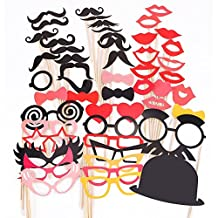 SODIAL(R)50 Pcs Colorful Props On A Stick Mustache Photo Booth Fun Party Wedding Christmas Birthday