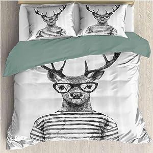 Waynekeysl Deer Duvet Cover Bedding Set, Dressed Up Deer Reindeer Headed Human Hipster Style with Glasses Striped Shirt, Decorative 3 Piece Bedding Set with 2 Pillow Shams, King Size, Black White