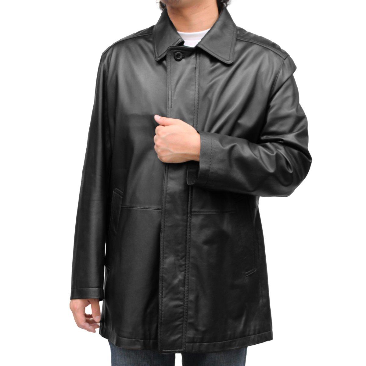 (メンズ レザーハーフコート) ステンカラー ハーフ レザーコート (6017) B00OUNWQB4 5L|ブラック ブラック 5L