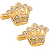 TRIPIN Cufflinks for Men Branded Golden Gold Crown Shape with Diamond Crystals Stone for Office Corporate Wedding Party French Cuff Shirts Shirt Suit Blazer in A Gift Box