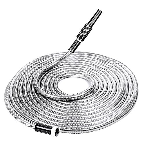 SPECILITE Heavy Duty 304 Stainless Steel Garden Hose 50ft, Outdoor Metal Water Hoses Nozzle Never Kink & Tangle, Puncture Resistant, Flexible, Portable