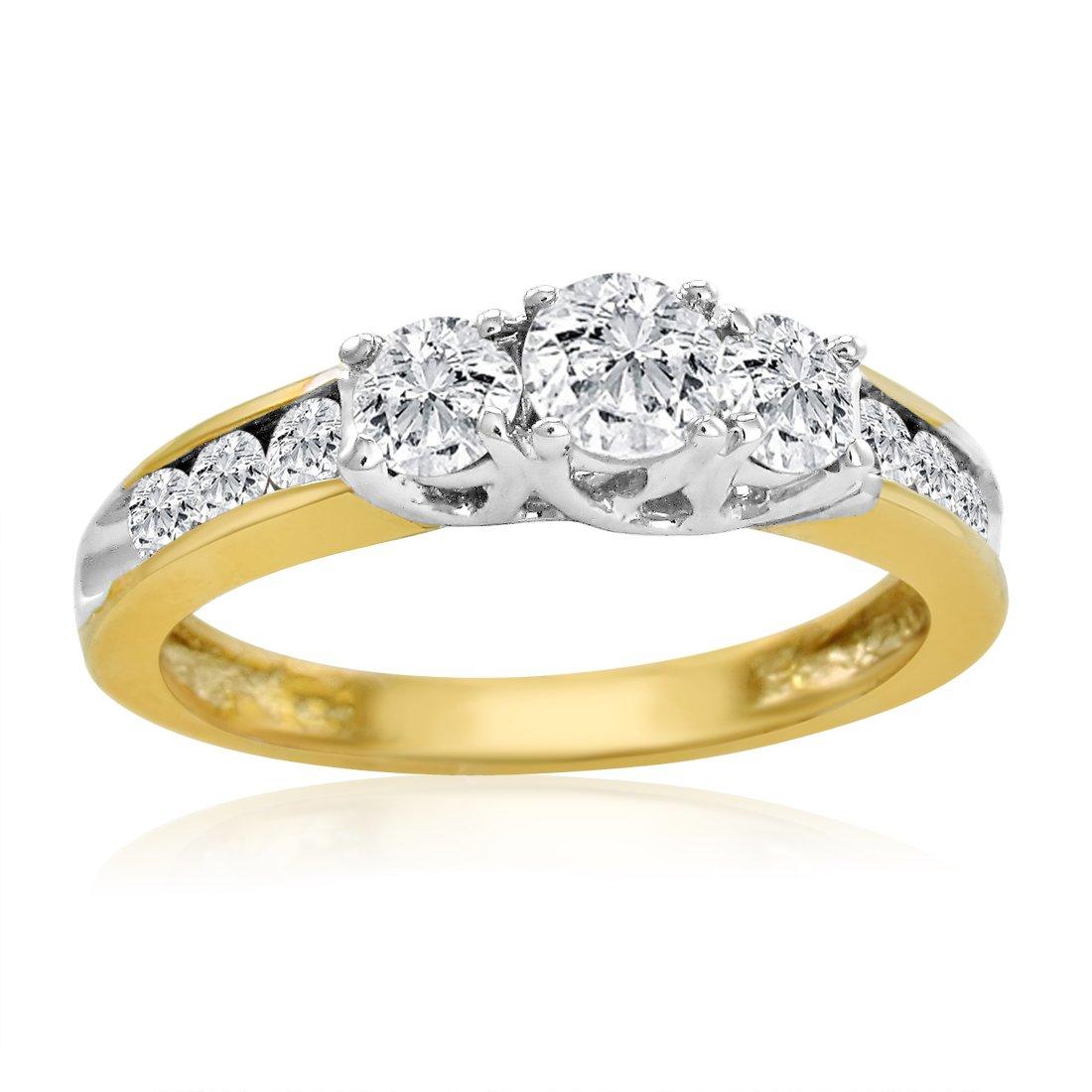 IGI Certified 10K Yellow Gold Three Stone Plus Diamond Anniversary Ring 1ct total weight ( Available Sizes 5-8) sz7