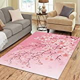 InterestPrint Cherry Blossom Area Rug Floor Mat 7′ x 5′ Feet, Japanese Sakura Flower Throw Rayon Fiber Carpet Rugs for Home Living Dining Room Decoration For Sale
