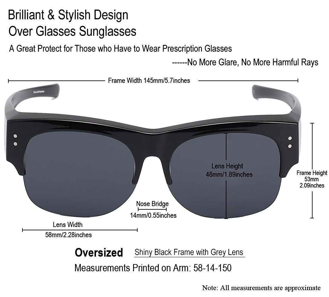 0db1cd5a80 Amazon.com  CAXMAN Oversized Wear Over Glasses Sunglasses Polarized Lens  for Prescription Glasses Half Frame