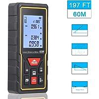 PREUP Laser-Entfernungsmesser Distanzmessgerät 60m (Messbreich 0,05~60m/±2mm, 30 Datenspeicherung mit LCD Hintergrundbeleuchtung und automatische Berechnung) für Volumen/Fläche / Pythagoras Messungen