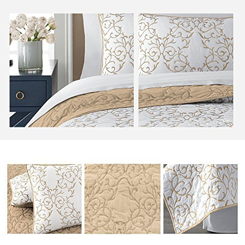 Mixinni Reversible 100 Cotton 3 Piece Beige Embroidery