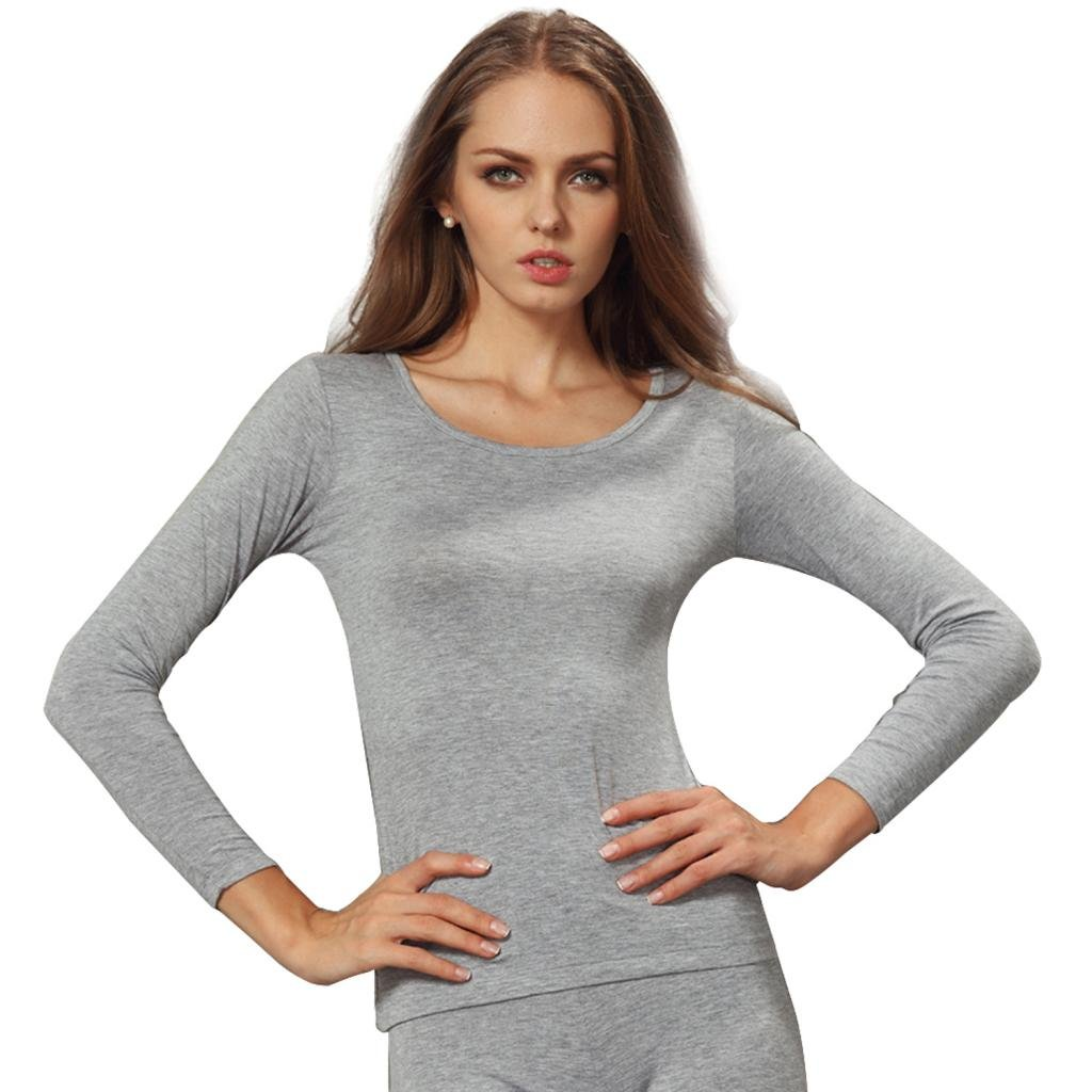 Liang Rou Women's Round Neck Ultra-Thin Underwear Long Sleeve Shirt Top Grey L