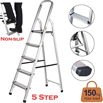 Escalera de plataforma ligera de aluminio plegable con 5 peldaños antideslizantes, portátil, carga de 330 libras: Amazon.es: Bricolaje y herramientas