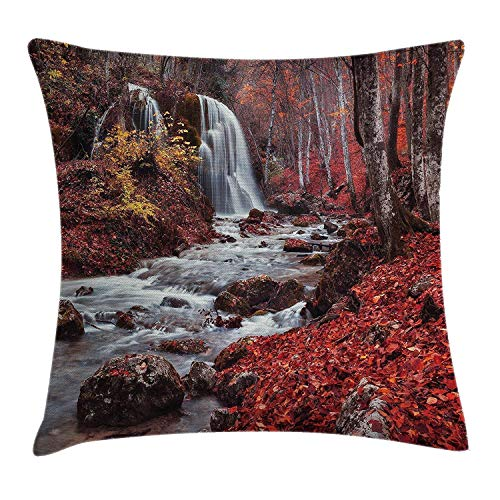 - KBdiengsuihekiss Apartment Silver Stream Waterfall in Fall Forest of Grand Canyon Idyllic Nature Photo Red Brown 18 x 18 Inch Throw Pillow Covers Case Home Decor Throw Pillow Cover