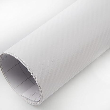 PEATOP Carbon Fibre Vinyl Wrap 3D Bubble Free Sheet Roll Film Silver 60 x 12 // 5FT x 1FT