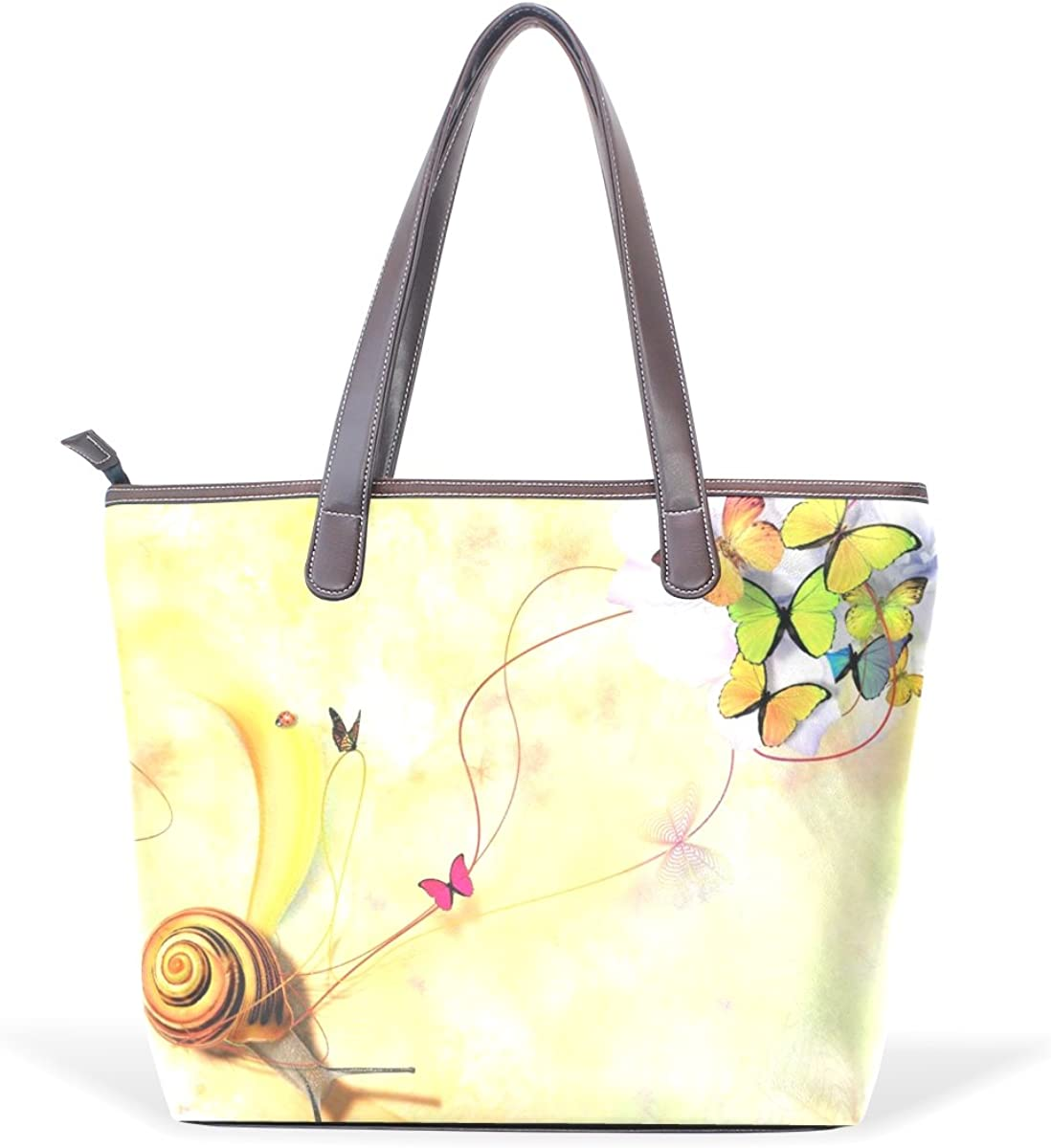 Women Large Tote PU Leather Shoulder Bags Snail And Butterfly Ladies Handbag