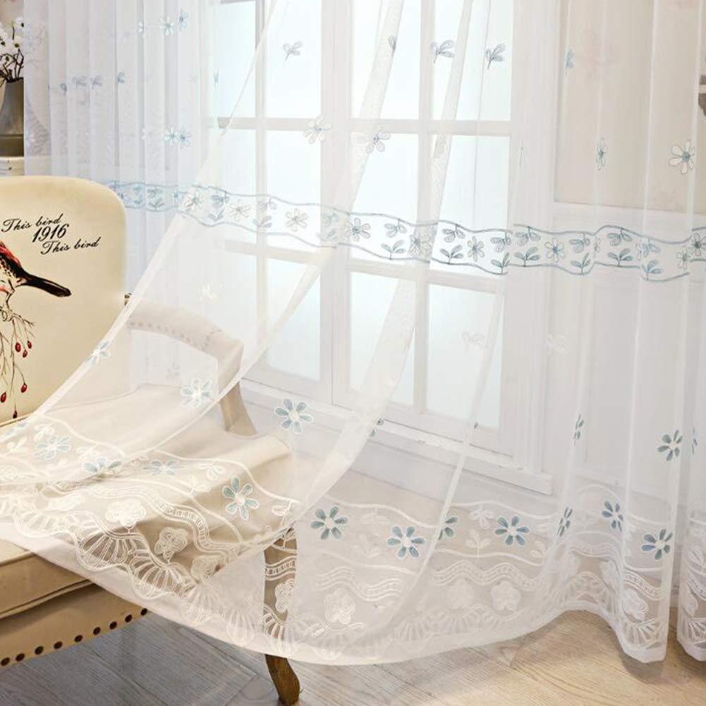 245cm YK CURTAIN Cortina Bordada Visillos Infantiles para Ventanas Cortina Transl/úsida para Dormitorio y Sal/ón con Ojales 2 Piezas,140