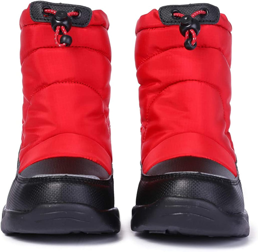 DADAWEN Boys Girls Warm Fur Lined Snow Boots Waterproof Cold Weather Winter Outdoor Boots