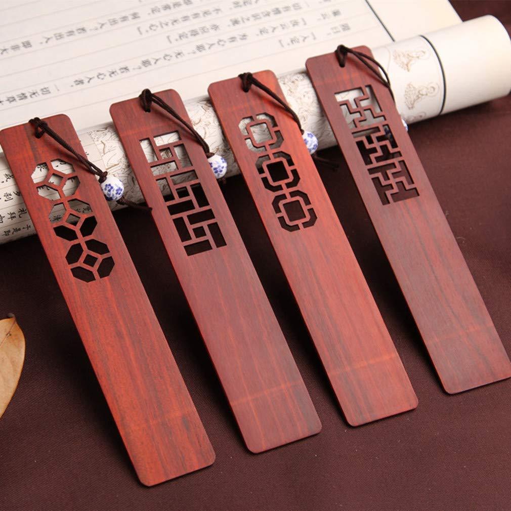 Le signet de bois de santal rouge 4pcs a plac/é la sculpture /à la main artisanat avec la bo/îte de cadeau id/éale pour le cadeau danniversaire de No/ël