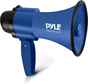 Portable Megaphone Speaker Siren Bullhorn - Compact and Battery Operated with 30 Watt Power, Microphone, 2 Modes, PA Sound and Foldable Handle for Cheerleading and Police Use - Pyle PMP31BL (Blue)