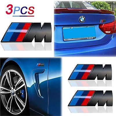 KENPENRI M Badge Tir Color Rear Emblems Fender Side Emblems for BMW - 3D Decal Nameplate Car Decal Logo Sticker Fit for All BMW - Black (3 PCS): Automotive
