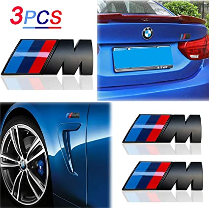 TRI Color Chrome POWER Emblem Side Door Fender Badge Sticker Decal Alloy BMW