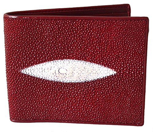 Authentic Stingray Skin Men's Bifold White Pearl Eye Burgundy Red (Exotic Skin Wallets)