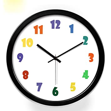 ZHUNSHI Super Silencioso Digital Pared Reloj Dibujos Animados Los Niños Relojes Salón Dormitorio Estudio Home,12 Pulgadas,Caja Negra: Amazon.es: Hogar