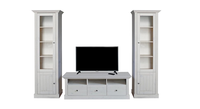 Steens 7317001013001F Monaco TV Wohnwand, Kiefer massiv, 271 x 56 x 190 cm, weiß lasiert