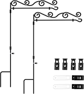 Garden Flag Stand Floral Style, BONWIN Garden Yard Flag Pole Holder Stands, Powder Coated Weather-Proof Paint Metal Flagpole with Spring Stoppers & Anti-Wind Clip for Garden - 36.6